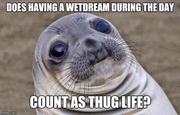 Awkward Moment Sealion Meme | DOES HAVING A WETDREAM DURING THE DAY COUNT AS THUG LIFE? | image tagged in memes,awkward moment sealion | made w/ Imgflip meme maker