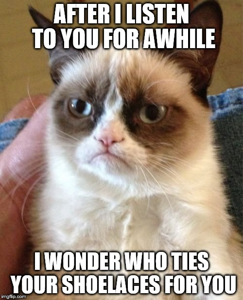Grumpy Cat Meme | AFTER I LISTEN TO YOU FOR AWHILE I WONDER WHO TIES YOUR SHOELACES FOR YOU | image tagged in memes,grumpy cat | made w/ Imgflip meme maker