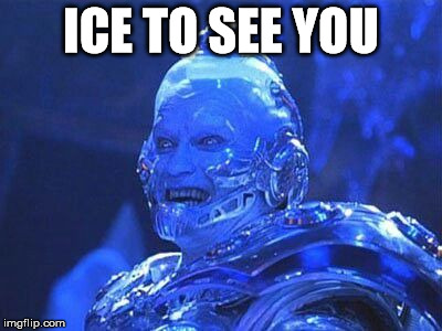 ICE TO SEE YOU | image tagged in arnie freeze | made w/ Imgflip meme maker