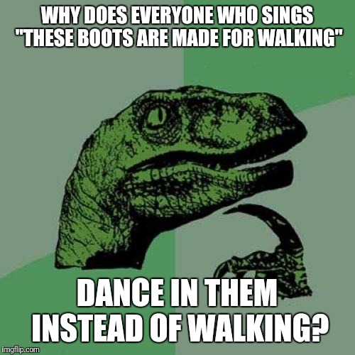 "Philosoraptor Meme | WHY DOES EVERYONE WHO SINGS ""THESE BOOTS ARE MADE FOR WALKING"" DANCE IN THEM INSTEAD OF WALKING? 