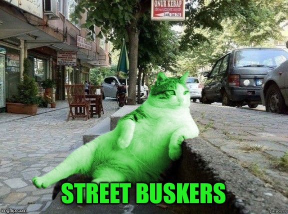 RayCat relaxing | STREET BUSKERS | image tagged in raycat relaxing | made w/ Imgflip meme maker