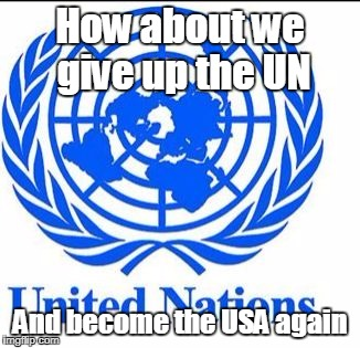United Nations | How about we give up the UN And become the USA again | image tagged in united nations | made w/ Imgflip meme maker
