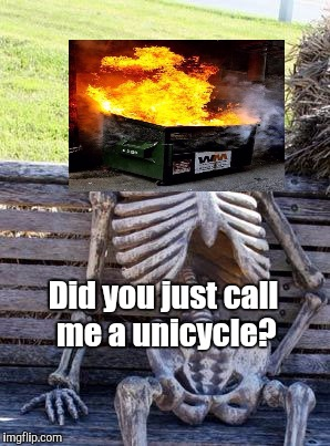 Waiting Skeleton Meme | Did you just call me a unicycle? | image tagged in memes,waiting skeleton | made w/ Imgflip meme maker
