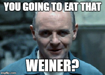 hannibal | YOU GOING TO EAT THAT WEINER? | image tagged in hannibal | made w/ Imgflip meme maker