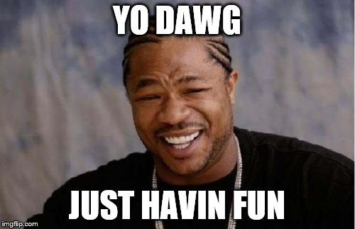 Yo Dawg Heard You Meme | YO DAWG JUST HAVIN FUN | image tagged in memes,yo dawg heard you | made w/ Imgflip meme maker