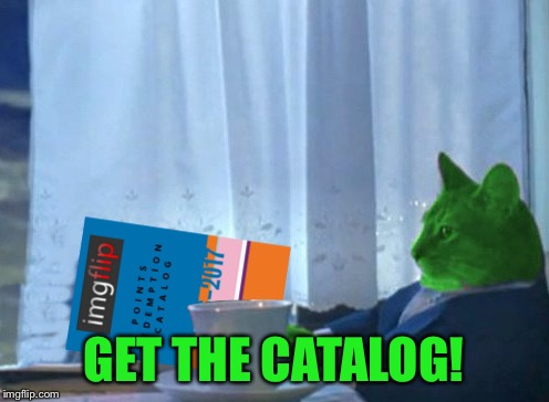 RayCat redeeming points | GET THE CATALOG! | image tagged in raycat redeeming points | made w/ Imgflip meme maker