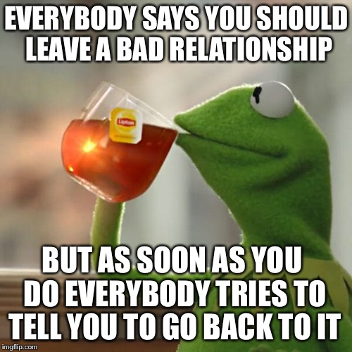 But Thats None Of My Business Meme | EVERYBODY SAYS YOU SHOULD LEAVE A BAD RELATIONSHIP BUT AS SOON AS YOU DO EVERYBODY TRIES TO TELL YOU TO GO BACK TO IT | image tagged in memes,but thats none of my business,kermit the frog | made w/ Imgflip meme maker