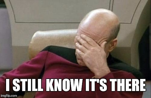 Captain Picard Facepalm Meme | I STILL KNOW IT'S THERE | image tagged in memes,captain picard facepalm | made w/ Imgflip meme maker