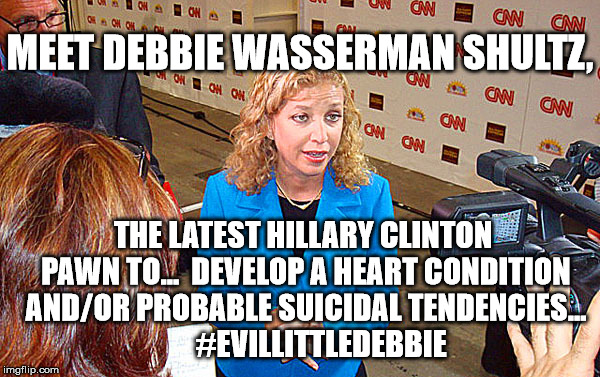 Crooked Evil Little Debbie | MEET DEBBIE WASSERMAN SHULTZ, THE LATEST HILLARY CLINTON PAWN TO...  DEVELOP A HEART CONDITION AND/OR PROBABLE SUICIDAL TENDENCIES...        | image tagged in debbie wasserman schultz,evillittledebbie,lockthemup,hillary rotten clinton,lockherup | made w/ Imgflip meme maker