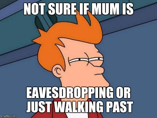 Futurama Fry Meme | NOT SURE IF MUM IS EAVESDROPPING OR JUST WALKING PAST | image tagged in memes,futurama fry | made w/ Imgflip meme maker