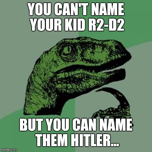 Seems Legit | YOU CAN'T NAME YOUR KID R2-D2 BUT YOU CAN NAME THEM HITLER... | image tagged in memes,philosoraptor | made w/ Imgflip meme maker