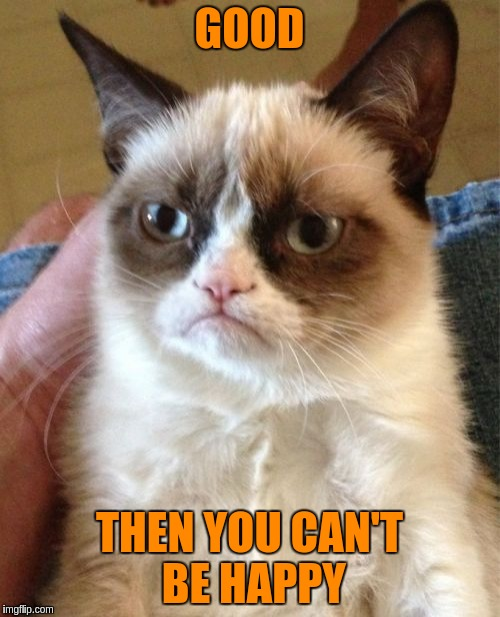 Grumpy Cat Meme | GOOD THEN YOU CAN'T BE HAPPY | image tagged in memes,grumpy cat | made w/ Imgflip meme maker