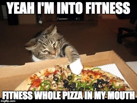 YEAH I'M INTO FITNESS FITNESS WHOLE PIZZA IN MY MOUTH | image tagged in pizza cat | made w/ Imgflip meme maker