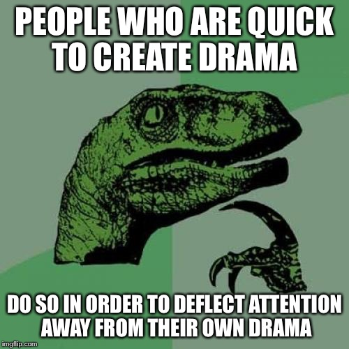 Philosoraptor Meme | PEOPLE WHO ARE QUICK TO CREATE DRAMA DO SO IN ORDER TO DEFLECT ATTENTION AWAY FROM THEIR OWN DRAMA | image tagged in memes,philosoraptor | made w/ Imgflip meme maker