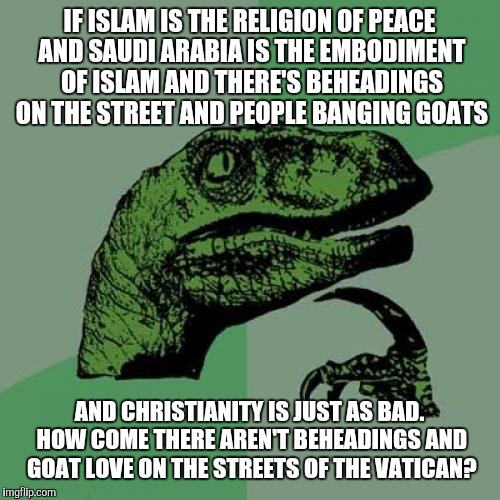 Honestly why? | IF ISLAM IS THE RELIGION OF PEACE AND SAUDI ARABIA IS THE EMBODIMENT OF ISLAM AND THERE'S BEHEADINGS ON THE STREET AND PEOPLE BANGING GOATS  | image tagged in memes,philosoraptor | made w/ Imgflip meme maker