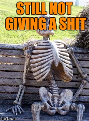 Waiting Skeleton Meme | STILL NOT GIVING A SHIT | image tagged in memes,waiting skeleton | made w/ Imgflip meme maker