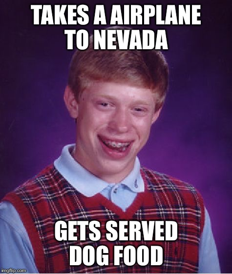 Bad Luck Brian | TAKES A AIRPLANE TO NEVADA GETS SERVED DOG FOOD | image tagged in memes,bad luck brian,airplane,dog food,nevada,vacation | made w/ Imgflip meme maker
