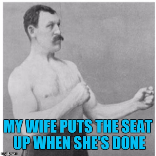 Overly Manly Man Meme | MY WIFE PUTS THE SEAT UP WHEN SHE'S DONE | image tagged in memes,overly manly man | made w/ Imgflip meme maker