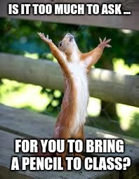 Praise Squirrel | IS IT TOO MUCH TO ASK ... FOR YOU TO BRING A PENCIL TO CLASS? | image tagged in praise squirrel | made w/ Imgflip meme maker