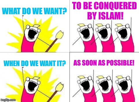 Leftist ideology already achieved in Europe.  Coming soon to America. | WHAT DO WE WANT? TO BE CONQUERED BY ISLAM! WHEN DO WE WANT IT? AS SOON AS POSSIBLE! | image tagged in memes,what do we want,islam,leftists | made w/ Imgflip meme maker