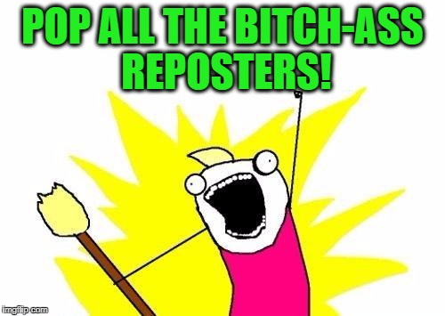 X All The Y Meme | POP ALL THE B**CH-ASS REPOSTERS! | image tagged in memes,x all the y | made w/ Imgflip meme maker