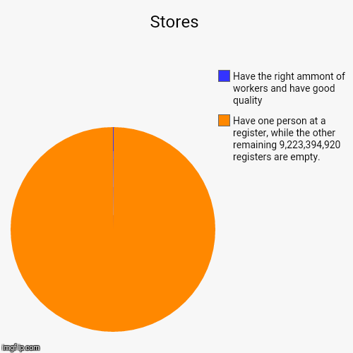 Stores | Have one person at a register, while the other remaining 9,223,394,920 registers are empty., Have the right ammont of workers and h | image tagged in funny,pie charts | made w/ Imgflip chart maker