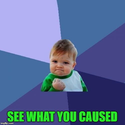 Success Kid Meme | SEE WHAT YOU CAUSED | image tagged in memes,success kid | made w/ Imgflip meme maker