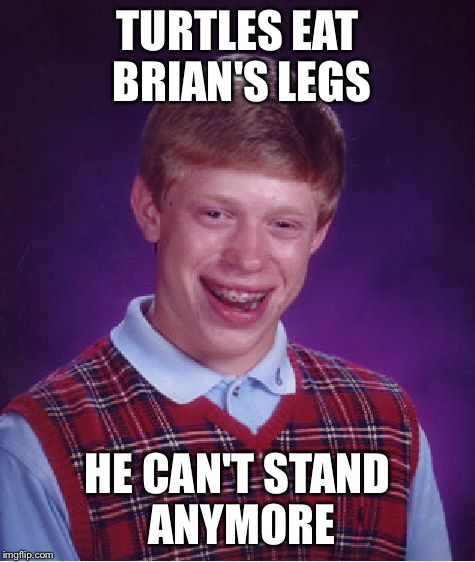 Bad Luck Brian Meme | TURTLES EAT BRIAN'S LEGS HE CAN'T STAND ANYMORE | image tagged in memes,bad luck brian | made w/ Imgflip meme maker