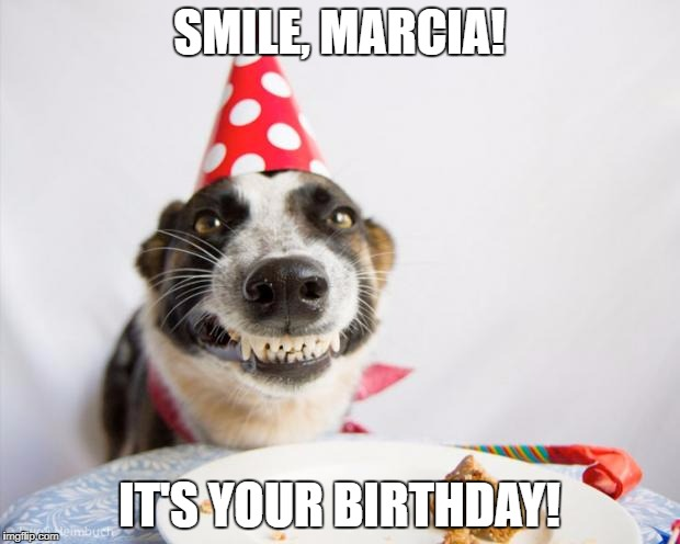 birthday dog | SMILE, MARCIA! IT'S YOUR BIRTHDAY! | image tagged in birthday dog | made w/ Imgflip meme maker