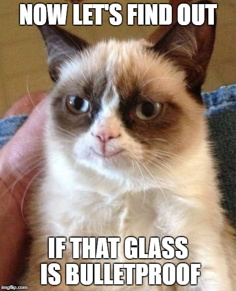 Grumpy Cat Smile | NOW LET'S FIND OUT IF THAT GLASS IS BULLETPROOF | image tagged in grumpy cat smile | made w/ Imgflip meme maker