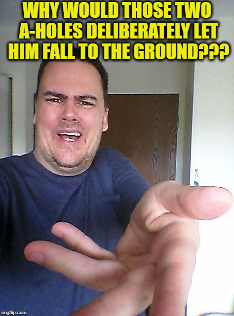 wow! | WHY WOULD THOSE TWO A-HOLES DELIBERATELY LET HIM FALL TO THE GROUND??? | image tagged in wow | made w/ Imgflip meme maker