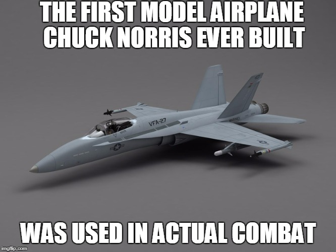 Chuck Norris model airplane | THE FIRST MODEL AIRPLANE CHUCK NORRIS EVER BUILT WAS USED IN ACTUAL COMBAT | image tagged in fighter jet,chuck norris,memes | made w/ Imgflip meme maker