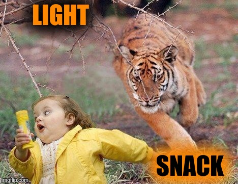 Tiger Week July 24 - 31. A TigerLegend1046 Event. Let's finish with a light snack. | LIGHT SNACK | image tagged in memes,tiger week,little girl running away,chubby bubbles girl | made w/ Imgflip meme maker
