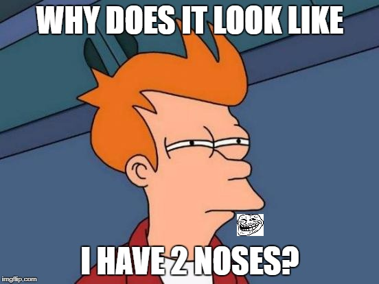 Hmm... Why? | WHY DOES IT LOOK LIKE I HAVE 2 NOSES? | image tagged in memes,futurama fry | made w/ Imgflip meme maker