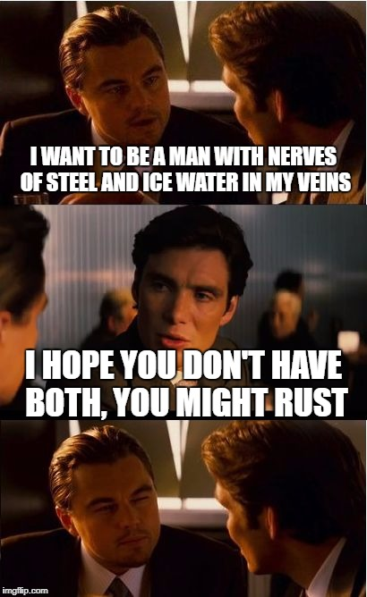 Inception Meme | I WANT TO BE A MAN WITH NERVES OF STEEL AND ICE WATER IN MY VEINS I HOPE YOU DON'T HAVE BOTH, YOU MIGHT RUST | image tagged in memes,inception | made w/ Imgflip meme maker