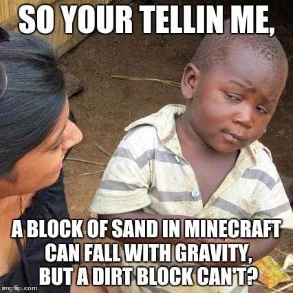cringy minecraft meme | SO YOUR TELLIN ME, A BLOCK OF SAND IN MINECRAFT CAN FALL WITH GRAVITY, BUT A DIRT BLOCK CAN'T? | image tagged in memes,third world skeptical kid | made w/ Imgflip meme maker