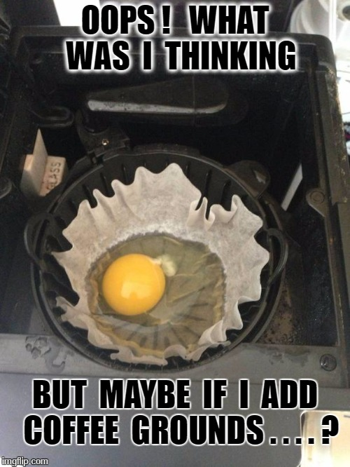 OOPS !   WHAT  WAS  I  THINKING BUT  MAYBE  IF  I  ADD  COFFEE  GROUNDS . . . . ? | image tagged in rough morning | made w/ Imgflip meme maker