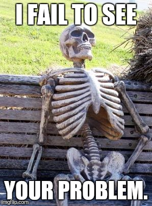 Waiting Skeleton Meme | I FAIL TO SEE YOUR PROBLEM. | image tagged in memes,waiting skeleton | made w/ Imgflip meme maker
