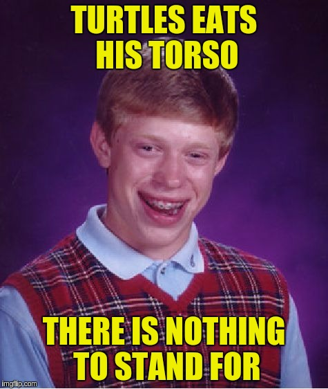 Bad Luck Brian Meme | TURTLES EATS HIS TORSO THERE IS NOTHING TO STAND FOR | image tagged in memes,bad luck brian | made w/ Imgflip meme maker