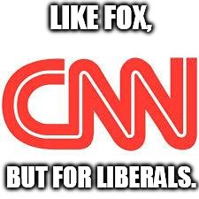 CNNs' new slogan. | LIKE FOX, BUT FOR LIBERALS. | image tagged in cnn,funny,fox news,conservative,liberals | made w/ Imgflip meme maker