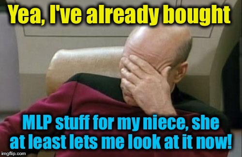 Captain Picard Facepalm Meme | Yea, I've already bought MLP stuff for my niece, she at least lets me look at it now! | image tagged in memes,captain picard facepalm | made w/ Imgflip meme maker