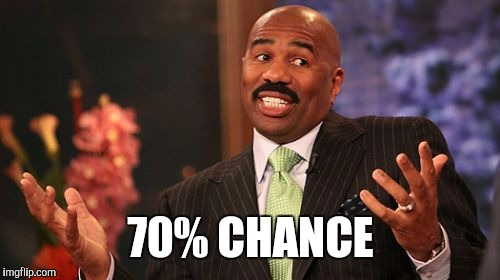 Steve Harvey Meme | 70% CHANCE | image tagged in memes,steve harvey | made w/ Imgflip meme maker