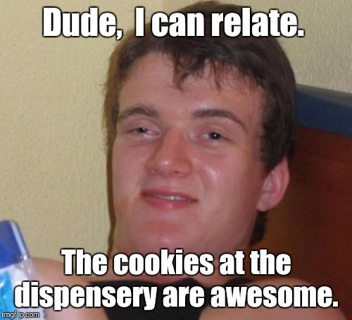 10 Guy Meme | Dude,  I can relate. The cookies at the dispensery are awesome. | image tagged in memes,10 guy | made w/ Imgflip meme maker