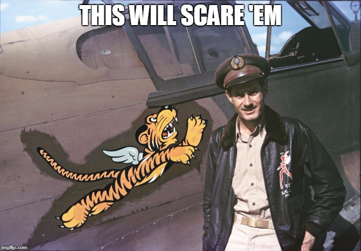 Fortunately the US Air Force never even let the enemies get close enough to see the paint jobs. | THIS WILL SCARE 'EM | image tagged in ww2,tiger,tiger week,airplanes,pilot,airplane | made w/ Imgflip meme maker