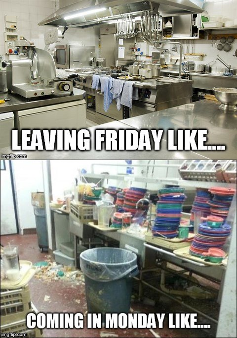 Restaurant humor  | image tagged in restaurant humor,clean kitchen,dirty kitchen,fast food,manager  problems | made w/ Imgflip meme maker