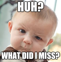 Skeptical Baby Meme | HUH? WHAT DID I MISS? | image tagged in memes,skeptical baby | made w/ Imgflip meme maker