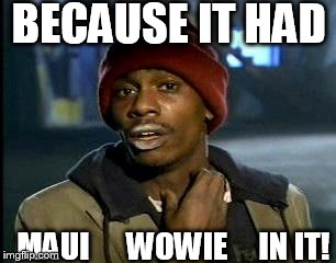Y'all Got Any More Of That Meme | BECAUSE IT HAD MAUI      WOWIE     IN IT! | image tagged in memes,yall got any more of | made w/ Imgflip meme maker
