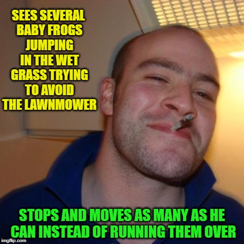 Good Guy ChumpChange | SEES SEVERAL BABY FROGS JUMPING IN THE WET GRASS TRYING TO AVOID THE LAWNMOWER STOPS AND MOVES AS MANY AS HE CAN INSTEAD OF RUNNING THEM OVE | image tagged in memes,good guy greg | made w/ Imgflip meme maker