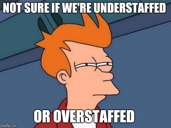 Futurama Fry Meme | NOT SURE IF WE'RE UNDERSTAFFED OR OVERSTAFFED | image tagged in memes,futurama fry | made w/ Imgflip meme maker