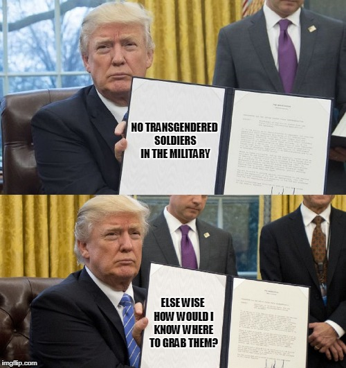 it's soooo hard being president nowadays | NO TRANSGENDERED SOLDIERS IN THE MILITARY ELSE WISE HOW WOULD I KNOW WHERE TO GRAB THEM? | image tagged in memes,trump,politics,transgender,military | made w/ Imgflip meme maker